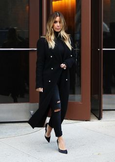 kim kardashian long coat and turtleneck - Google Search