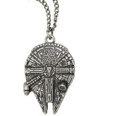 Star Wars Millennium Falcon Necklace Hot Topic ($6.80) ❤ liked on Polyvore featuring jewelry, necklaces, accessories, star wars, pendant chain necklace, pendant jewelry, metal chain necklace, metal necklace and chains jewelry