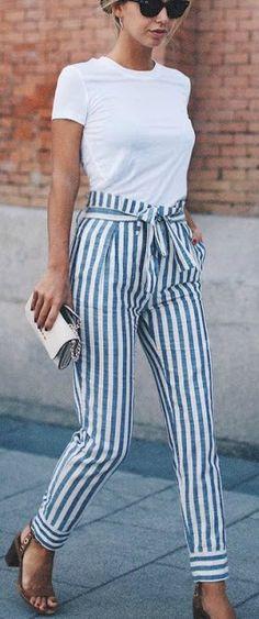 Striped pants + white tee.