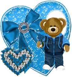 TEDDY BEAR WITH BLUE HEARTS AND FLOWERS, GIF