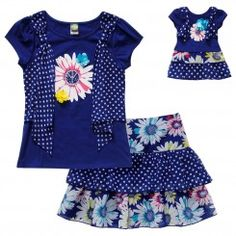 """""""Peace and Flowers"""" Skirt Set with Matching Outfit for 18 inch Play Doll"""