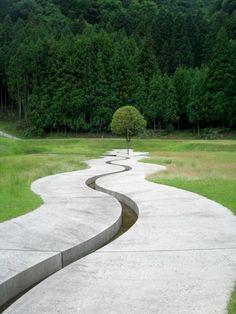 Murou Art Forest Design by Dani Karavan  Reminds me of Spiral Jetty. Beautiful land art