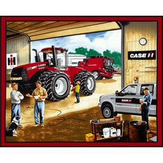 Case IH Garage Panel Red from @fabricdotcom  From CNH America, this cotton print is perfect for quilting and home decor accents.  Colors include black, white, grey, red, green, blue, tan, brown and cream.  This panel measures approximately 36'' x 44''.