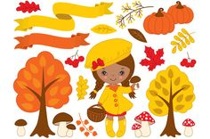 Autumn Set with Little African Girl  @creativework247