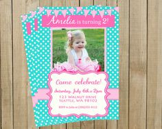 Bright and Fun Turquoise Polka Dot with Pink Birthday Invitation, Girl, Printable, Custom Digital File. Pink Poppy Design, via Etsy.