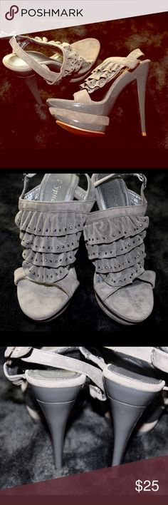 NWOT Gray, Platform Heel You'll definitely make a big statement in these platform heels from Hypnotic. Made from gray, faux suede material. Only worn once to try on- otherwise brand new! Hypnotic Shoes Heels