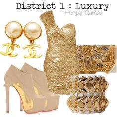 An outfit inspired by the District 1 of Panem. Hunger Games Outfits, Hunger Games Fandom, Hunger Games Series, Hunger Games Catching Fire, Extreme Metal, Beautiful Outfits, Cute Outfits, Movie Outfits, Amazing Outfits