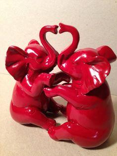 elephants / love / heart / resin / modern home by TheYellowSpoon
