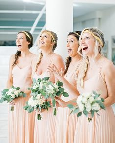 peach brides maid dresses Bridesmaids wear peach dresses with pleated skirts. Images by HannaMonika Photography Indian Wedding Receptions, Wedding Mandap, Wedding Stage, Peach Bridesmaid Dresses, Peach Dresses, Wedding Bridesmaids, Wedding Dresses, Santorini Wedding, Greece Wedding