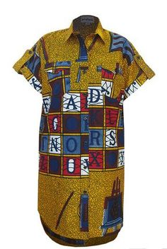 Bold African Print Shirt Dress ~ African fashion, Ankara, kitenge, Kente, African prints, Braids, Asoebi, Gele, Nigerian wedding, Ghanaian fashion, African wedding ~DKK