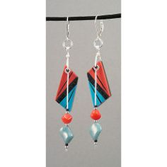 ear-126-turqcorivory-3 (11BOLDstreet) Tags: black texture coral carved turquoise ivory polymerclay sterling earrings dangle inlay polymer czechbeads susanoneill 11boldstreet