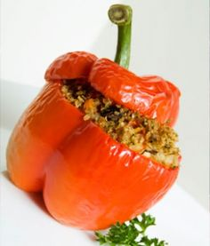 Healthy Stuffed Pepper: portabella mushrooms, grape tomatoes, spinach, red pepper, onion, zucchini, lean ground turkey, quinoa, green bell peppers, olive oil, salt, pepper, red pepper flakes, tomato paste, Tabasco :)