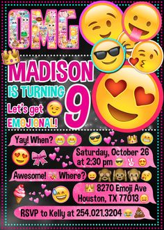 Emoji Invitation  Emoji Icons Chalkboard Birthday Party