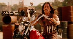 Danny Trejo on a Harley in the movie Machete