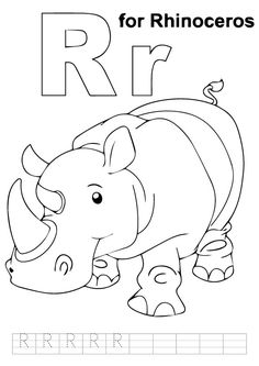 E for elephant coloring page with