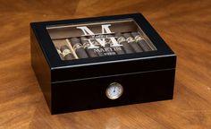 Engraved Black Cigar Humidor - Kustom Products Inc