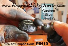 www.HappyGoLickyJewelry.com is your shop for custom handmade silver jewelry designs- wrap bracelets, cool rings, & unique monogrammed gifts. Use 10% off coupon code PIN10