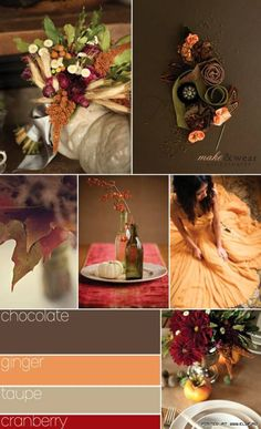 Chocolate Ginger Taupe and Cranberry september wedding ideas / burgundy fall wedding / fall wedding color schemes / fall boquette wedding / fall wedding idea Wedding Themes, Our Wedding, Dream Wedding, Taupe Wedding, Orange Wedding, Trendy Wedding, Wedding Blog, Wedding Stuff, Fall Wedding Colors