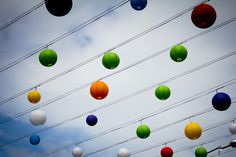 Multi Colored Paper Lanterns Hung outside