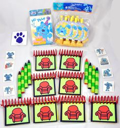 Blue's Clues Handy Dandy BIRTHDAY PARTY PACK Notebooks & Striped Jumbo Crayons. $33.95, via Etsy.