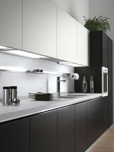 While we can't help you produce the real cabinet, Contemporary kitchen cabinets teame with Kitchen Room Design, Kitchen Cabinet Design, Modern Kitchen Design, Home Decor Kitchen, Interior Design Kitchen, Kitchen Furniture, Decorating Kitchen, Kitchen Ideas, Cheap Kitchen