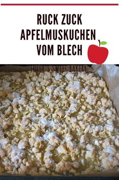 Quick apple pie from the tray-Ruckzuck Apfelmuskuchen vom Blech I have a very simple basic recipe for you … - Greek Diet, Queso Fresco, Medicinal Herbs, Food Items, Cherry Tomatoes, Apple Pie, Apple Sauce, A Food, Blog