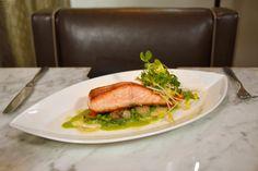 Scottish Salmon spring pea 'franciase' , cipollini, bibb lettuce, pea puree with spring garlic butter sauce
