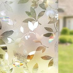 Frosted Window Film, Stained Glass Window Film, Window Glass, Window Privacy, Privacy Glass, Window Curtains, Film Pour Vitrage, Decorative Leaves, Decorative Glass