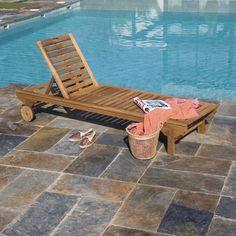 Bain de soleil amovible en bois Porto brun French Farmhouse, Farmhouse Style, Acacia, Outdoor Furniture, Outdoor Decor, Sun Lounger, Exterior, Leroy Merlin, Home Decor