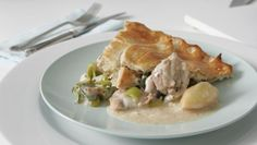 Chicken and leek pie        A classic recipe for chicken and leeks in a white sauce topped with shortcrust pastry.
