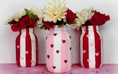 54 Fabulous Valentines Day Mason Jar Decor Ideas i Vase Crafts, Mason Jar Crafts, Bottle Crafts, Diy Crafts, Mason Jar Vases, Mason Jar Diy, Decorated Jars, Valentine Day Crafts, Valentine Ideas