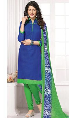 Create an ambiance of fashion and grace with this churidar kameez in blue and green color cotton. The lace and resham work appears to be like chic and best for any party. #casualweardress #cottoncasualdresses #straightchuridarsuit