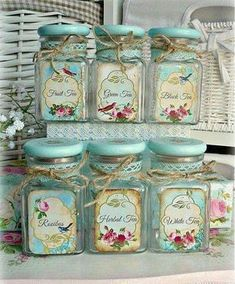 10 Aware Clever Tips: Shabby Chic Blue Bedroom shabby chic white diy.Shabby Chic Desk Old Doors shabby chic bathroom printables. Vintage Tea, Shabby Chic Vintage, Shabby Chic Farmhouse, Shabby Chic Crafts, Shabby Chic Kitchen, Vintage Style, Shabby Chic Jars, Shabby Chic Dining, Vintage Jars