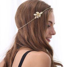 2015 nueva hoja dorado cadena de la cabeza para mujeres Rose flor accesorios nupciales del pelo de la boda de Boho joyería de la cabeza diadema Bijoux femme