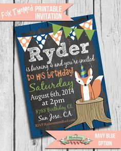 Fox Birthday Party Invitation, Printable Fox Party Invitation by BloomberryDesigns, $15.00