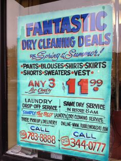 Hand Painted Signage for Dry Cleaners, on Washington Ave, BKLN, 2012
