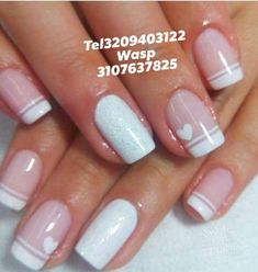The manicuring never go out of fashion, and nails decorated not only beautify hands but prove you& a woman q . French Manicure Nails, French Nails, Manicure And Pedicure, Grunge Nails, Swag Nails, Cow Nails, Grey Nail Designs, Bride Nails, Heart Nails