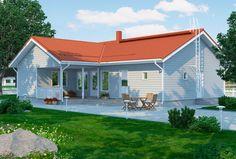 Omatalo 148-13 –mallissa on kolme makuuhuonetta, vierashuone, ja tilava olohuone.