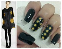 """GREY & YELLOW POLKA DOTS INSPIRED IN A DRESS **FOR DETAILS FOLLOW MY BLOG OR DO """"LIKE"""" TO MY FACEBOOK, would be great!! All comments are welcome!!! https://www.facebook.com/glamstylenailsbycarolina **"""