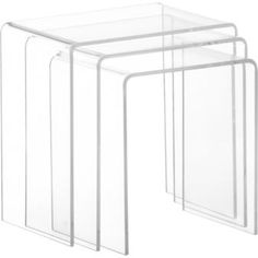 peekaboo clear nesting tables set of three in accent tables | CB2 - $199 (might look good next to dresser as an accessory/changing table)