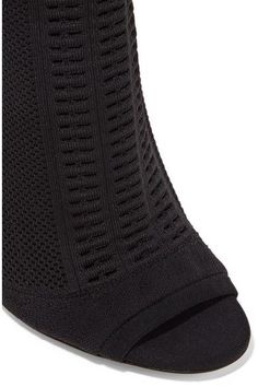 Heel measures approximately 105mm/ 4 inches Black stretch-knit Pull on Made in Italy