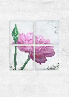 Sant jordi's rose - art - Wood Wall Art - Set of 4 by Lluïsa Díaz Vida Design, Natural Twists, Rose Art, Wall Art Sets, Wood Paneling, Wood Wall Art, Original Artwork, Digital Prints, Wood Grain