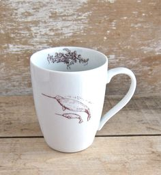 Narwhal Mug Narwhal and Calf Baby  16 oz by SecondChanceCeramics, $22.00