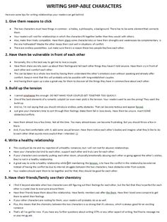 Ship-able characters - writing tips Creative Writing Prompts, Book Writing Tips, Writing Words, Writing Resources, Writing Help, Writing Skills, Writer Tips, Writing Ideas, Comic Book Writing