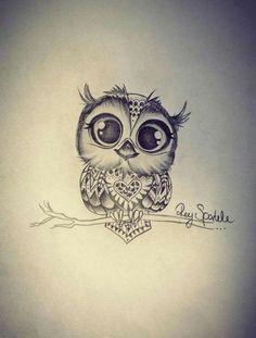 eine idee für einen kleine schwarzen tattoo owl mit einer kleinen süßen eule mit schwarzen augen