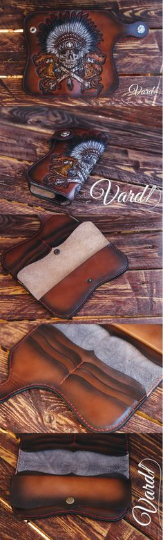 Handcrafted leather wallet, emboss Indian skull Vardi Craft Handmade men long leather wallet men vintage brown gray long wallet