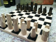 Chess set complete with board hand made compact size. by JELucky, $34.20