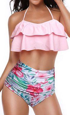 77e0587b1f0 Heat Move Women Retro Flounce High Waisted Bikini Halter Neck Two Piece  Swimsuit  HeatMove