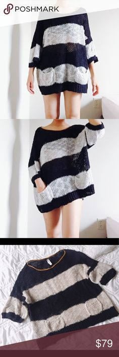 """SALEZARA black white chunky oversized sweater LOWERED FROM $50->$29 Pull&Bear sweater, excellent condition without holes or stains. 100% cotton with leather trimmed neck line. Black and beige striped pattern. Oversized, it can be a tunic or dress! Has 2 cute pockets! ❤️ I'm allergic to synthetic material and this is super soft, which was fun to try it on Price firm. Total length: 26"""", width; 27"""" across. Feel free to ask any questions if you have. Thank you  Zara Sweaters"""