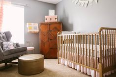 Sweet, Feminine Nursery in Peach, Gold, and Gray  |  Perfection, vintage, modern, classic, touches of Beatrix Potter!